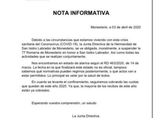 MONESTERIO – La Junta Directiva de la Hermandad de San Isidro de Monesterio ha suspendido la 77 Romería de San Isidro y todas las actividades que se realizan con motivo de la crisis sanitaria del coronavirus