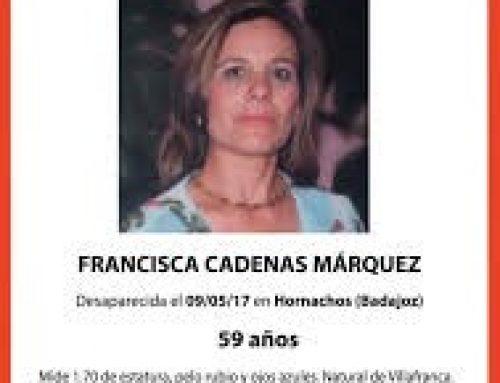 SOCIEDAD – La Fundación QSD Global se suma al tercer aniversario de la desaparición de la vecina de Hornachos Francisca Cadenas y afirma ¿Quien Investiga?
