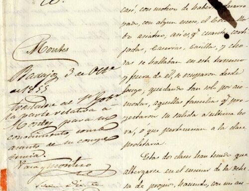 CULTURA – El cólera morbo, azote de nuestra provincia en el siglo XIX, documento del mes de junio del Archivo Provincial