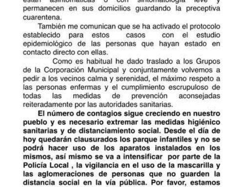 LOS SANTOS DE MAIMONA – El alcalde informa de la existencia de 7 nuevos positivos de COVID 19 en la ciudad