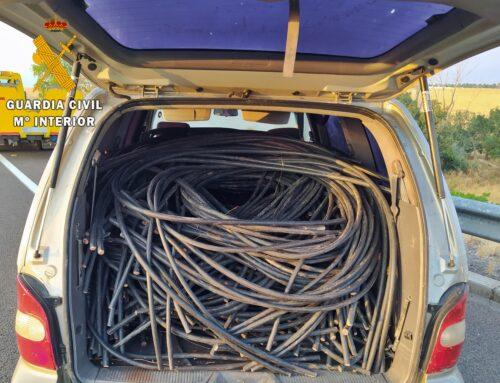 ORDEN PÚBLICO – La Guardia Civil interviene más de 2.300 kilos de cable de cobre que acababan de sustraer en una fotovoltaica de Olivenza