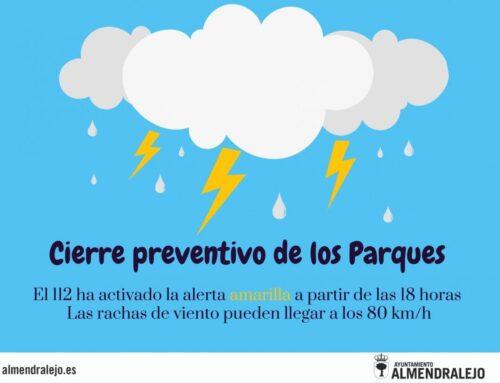 ALMENDRALEJO – El Ayuntamiento cierra hoy los parques debido a la alerta amarilla por fuertes vientos