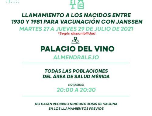 VACUNACIÓN MASIVA CON JANSSEN PARA LOS NACIDOS ENTRE 1930 y 1981