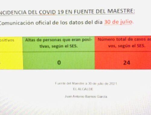 FUENTE DEL MAESTRE – COMUNICACIÓN OFICIAL DE LOS DATOS DEL DÍA 30 DE JULIO SOBRE LA INCIDENCIA DEL COVID-19 EN LA LOCALIDAD