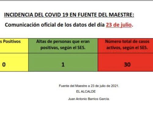 FUENTE DEL MAESTRE – Comunicacion oficial de la incidencia del COVID en la localidad